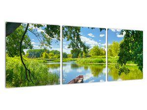 Slika ljetne rijeke s brodicom (V021977V9030)