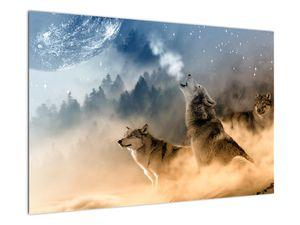 Obraz - vlci vyjící na měsíc (V020509V9060)