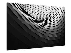 Abstraktní obraz - černobílá spirála (V020667V9060)