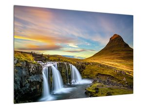 Obraz hory a vodopádů na Islandu (V020702V9060)