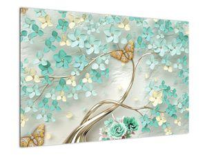 Obraz květiny s motýly (V020716V9060)