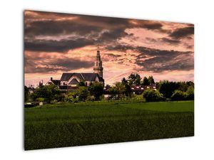 Obraz krajiny s kostelem (V020803V9060)