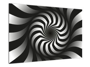Abstraktní obraz černobílé spirály (V020831V9060)