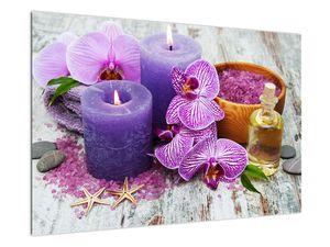 Obraz orchideí a svíček (V020894V9060)