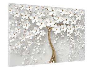 Obraz bílého stromu s květinami (V020977V9060)