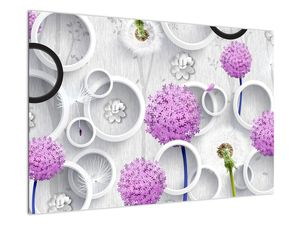 Tablou cu abstracție 3D cu cercuri și flori (V020981V9060)