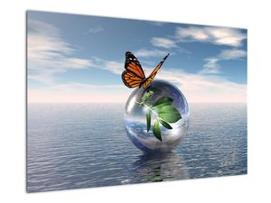 Obraz motýla na skleněné kouli (V021198V9060)