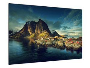 Obraz rybářské vesnice v Norsku (V021280V9060)