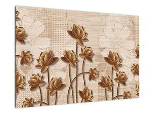 Obraz abtrakce květin - hnědá (V021309V9060)