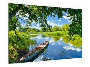 Slika ljetne rijeke s brodicom (V021977V9060)