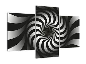 Abstraktní obraz černobílé spirály (V020831V90603PCS)