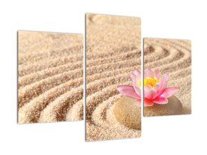 Obraz kameňa s kvetinou na piesku (V020864V90603PCS)