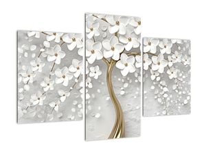 Obraz bílého stromu s květinami (V020977V90603PCS)