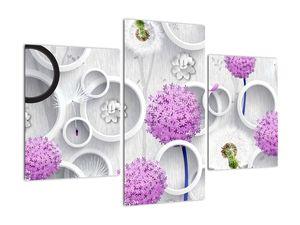 Tablou cu abstracție 3D cu cercuri și flori (V020981V90603PCS)