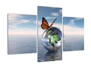 Obraz motýla na skleněné kouli (V021198V90603PCS)