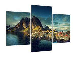 Obraz rybářské vesnice v Norsku (V021280V90603PCS)