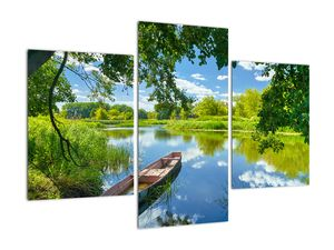 Slika ljetne rijeke s brodicom (V021977V90603PCS)