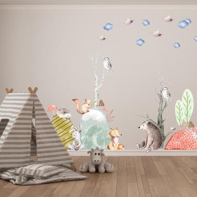 Samolepky na stenu - Lesné zvieratká (L080004)