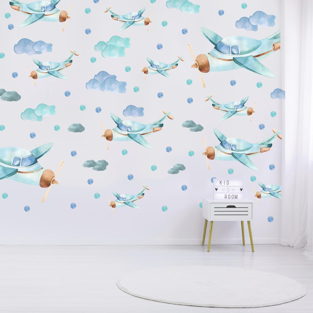 Samolepky na stenu - Lietadlá (L080005)