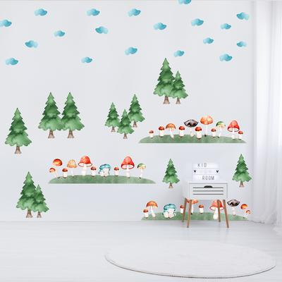 Samolepky na stenu - Hubový les (L080011)