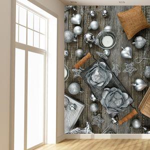 Fototapeta - Stříbrné vánoční dekorace (T020310T133200)